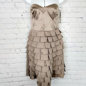 Reiss strapless bronze tiled dress 6